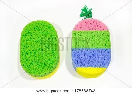 Two bath sponge isolated on white background. Washcloth.