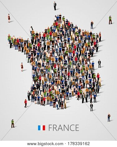 Large group of people in form of France map. Population of France or demographics template. Vector illusatrtion