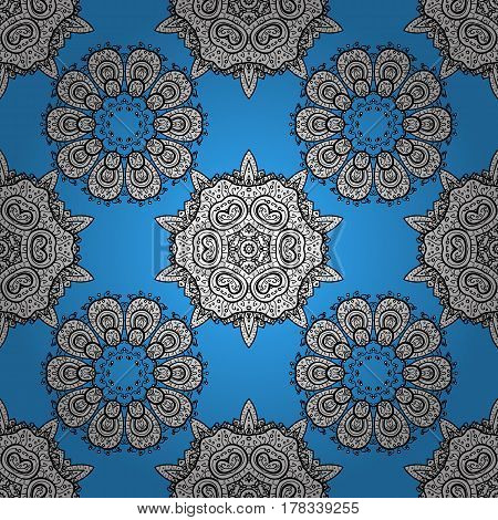 White pattern on blue background with white elements. Seamless classic white pattern. Vector traditional orient ornament.