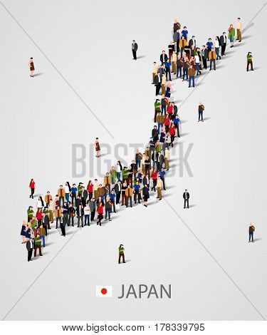 Large group of people in Japan map form. Population of Japan or demographics template. Background for presentation. Vector illustration