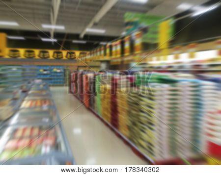 This is Supermarket store in Thailand blur background.