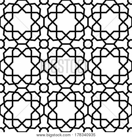 Seamless black and white ornament in arabian style. Pattern for wallpapers and backgrounds