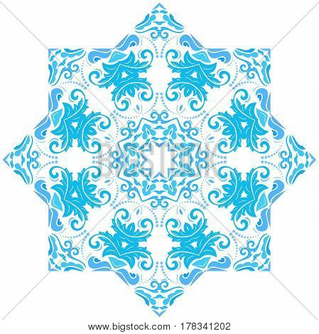 Elegant light blue ornament in the style of barogue. Abstract traditional pattern with oriental elements