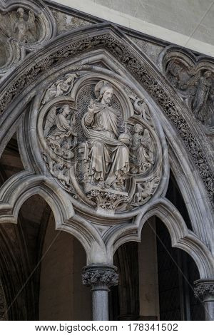 LONDON, GREAT BRITAIN - MAY 12, 2014: This is a fragment of the entrance to the hall of the chapter of Westminster Abbey.