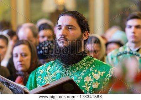 Kiev, Ukraine - 22 March 2017: The Divine Liturgy At The Kiev Holy Presentation Monastery. The Deaco