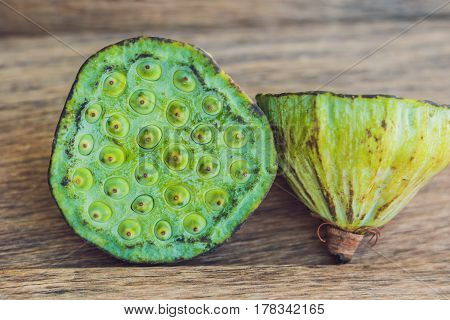 Lotus Seeds On An Old Wooden Background