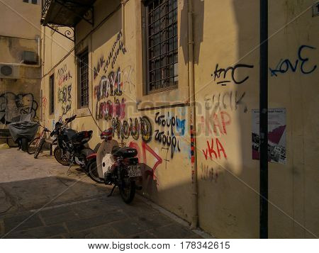 Rethymno, Greece - August  5, 2016: Typical Street Vandalism In Greece.