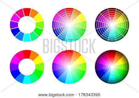 Color wheel from 12 color rgb. Vector set on white background
