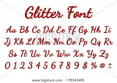 Red glitter font in white background. Vector illustration