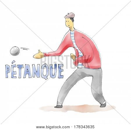 Petanque player. Sport Watercolor drawing