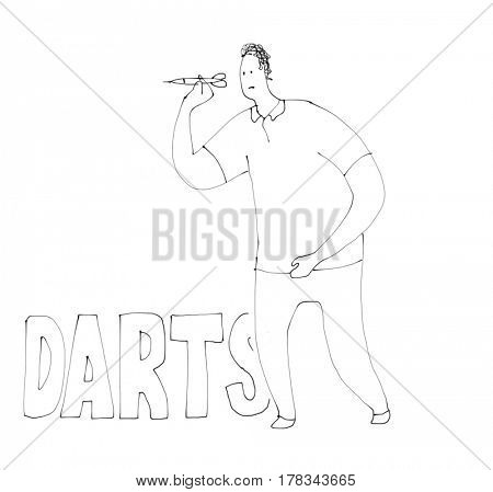Darts player throwing. Sport set. Watercolor sketch drawing illustration.