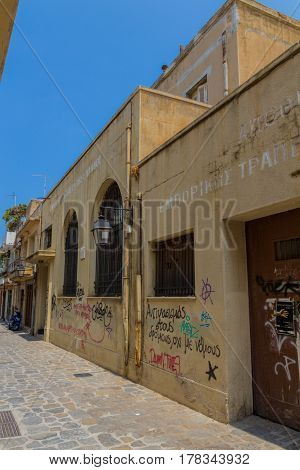 Rethymno, Greece - August  5, 2016: Abandoned Building Of The National Bank.
