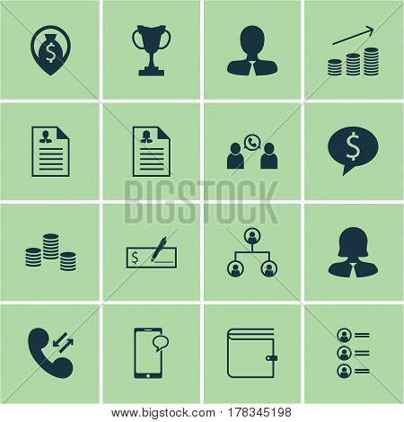 Set Of 16 Human Resources Icons. Includes Coins Growth, Wallet, Money And Other Symbols. Beautiful Design Elements.