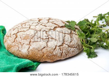 Rye Bread Loaf With Nettle Leaves