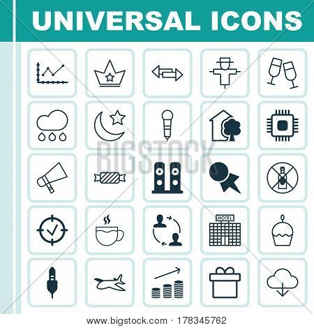 Set Of 25 Universal Editable Icons. Can Be Used For Web, Mobile And App Design. Includes Elements Such As Present, Microphone, Resort Development And More.