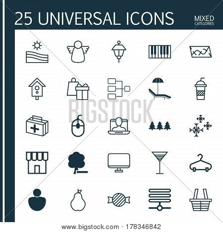 Set Of 25 Universal Editable Icons. Can Be Used For Web, Mobile And App Design. Includes Elements Such As Delete Woods, Information Base, Social Profile And More.