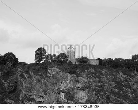 Clifton Observatory In Bristol In Black And White
