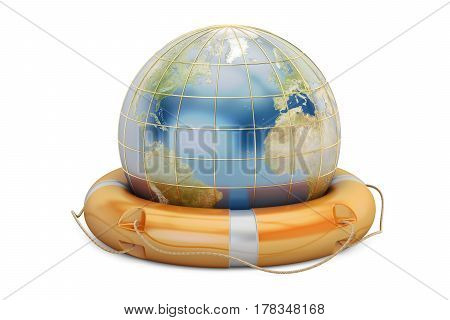 Earth globe with lifebuoy. Save the world concept 3D rendering isolated on white background