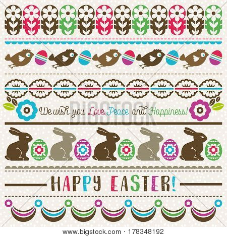 Easter greetings cards with color easter eggs flowers and rabbits. Ideal for printing onto fabric and paper or scrap booking vector illustration