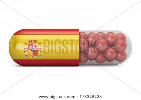 Pill capsule with Spain flag. Spanish health care concept 3D rendering