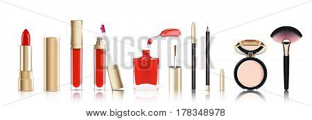 Beautiful cosmetic set in gold. lipstick, lip gloss, nail polish with smear, cosmetic eyeliner pelcil and face powder. Makeup realistic vector isolated on white