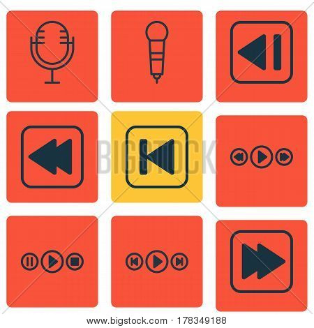 Set Of 9 Music Icons. Includes Rewind Back, Last Song, Audio Buttons And Other Symbols. Beautiful Design Elements.