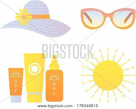 Vector illustration sun protection icons set. Flat style.