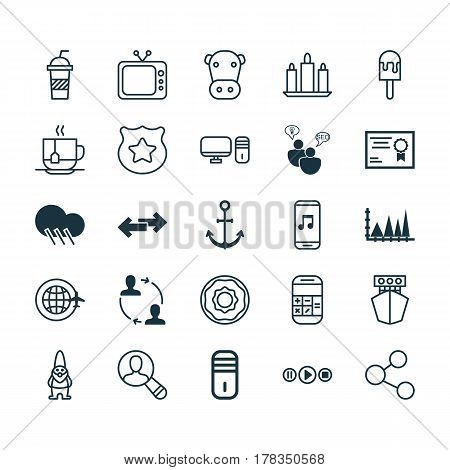 Set Of 25 Universal Editable Icons. Can Be Used For Web, Mobile And App Design. Includes Elements Such As Ship, Dwarf, Television And More.