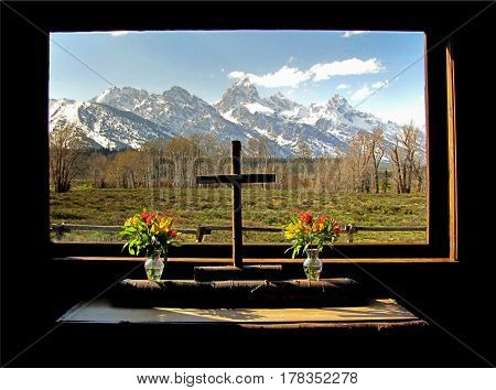 Teton Chapel Spectacular view of the Grand Tetons from the Chapel of the Transfiguration.