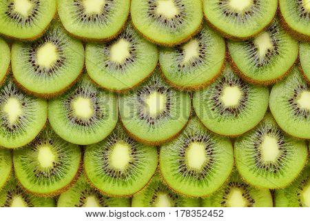 Kiwi fruit slices as background or texture