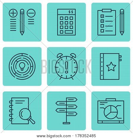 Set Of 9 Project Management Icons. Includes Analysis, Board, Innovation And Other Symbols. Beautiful Design Elements.