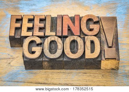 feeling good - positive words in vintage letterpress wood type printing blocks against grunge wooden background