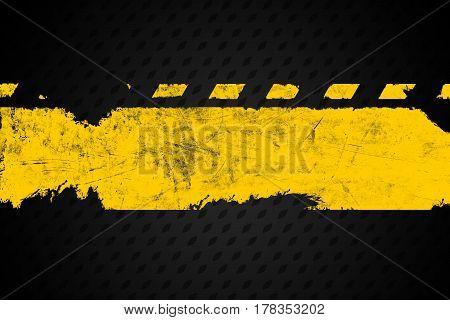 Grunge distressed yellow road marking paintbrush stroke banner on dark metal background element illustration