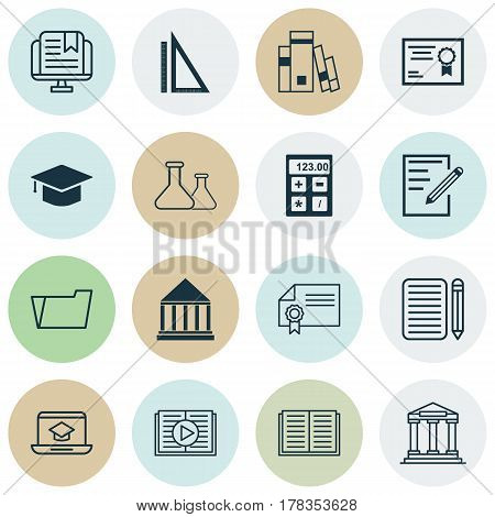Set Of 16 Education Icons. Includes Home Work, Diploma, Graduation And Other Symbols. Beautiful Design Elements.