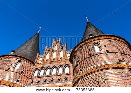 Holsten Gate in the old town of the Hanseatic City of Lubeck