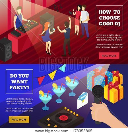Party isometric banners with crowded dancefloor disc jockey cocktails and gift boxes with read more button vector illustration