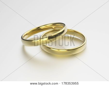 3D illustration gold wedding rings on a grey background