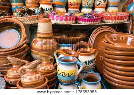 Traditional Mexican Clay Pottery on sale as souvenirs