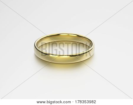 3D illustration gold wedding ring on a grey background