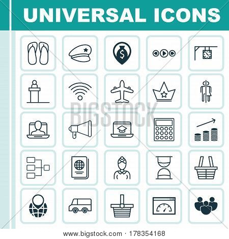 Set Of 25 Universal Editable Icons. Can Be Used For Web, Mobile And App Design. Includes Elements Such As Wireless Communications, Corona, Pannier And More.