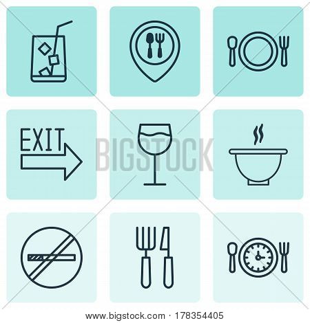 Set Of 9 Meal Icons. Includes Wineglass, Lemon Juice, Cutlery And Other Symbols. Beautiful Design Elements.