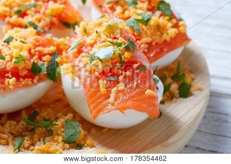 Filled eggs with salmon pinchos tapas from Spain recipes pintxos