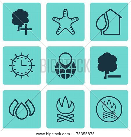 Set Of 9 Ecology Icons. Includes Delete Woods, Aqua, Sun Clock And Other Symbols. Beautiful Design Elements.
