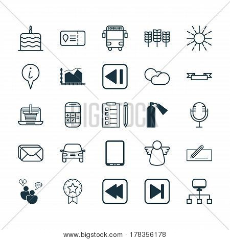 Set Of 25 Universal Editable Icons. Can Be Used For Web, Mobile And App Design. Includes Elements Such As Mike, Archangel, Local Connection And More.