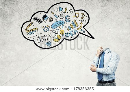 Headless businessman in empty room and speech bubble with business sketches