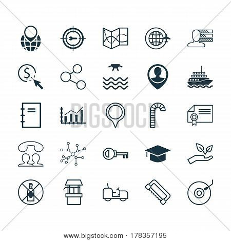 Set Of 25 Universal Editable Icons. Can Be Used For Web, Mobile And App Design. Includes Elements Such As Economy Growth, Conversation, Gramophone And More.