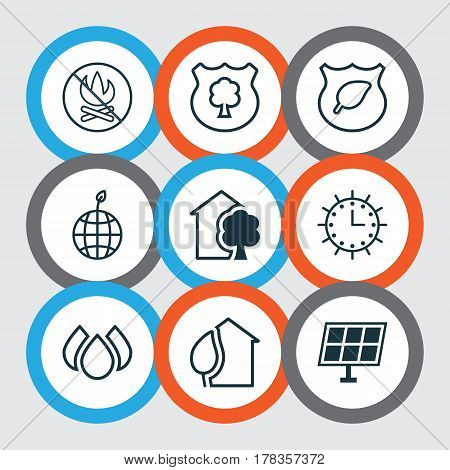 Set Of 9 Eco Icons. Includes Sun Power, Timber, Home And Other Symbols. Beautiful Design Elements.