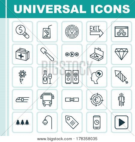Set Of 25 Universal Editable Icons. Can Be Used For Web, Mobile And App Design. Includes Elements Such As Sound Box, Lemon Juice, Holiday Ornament And More.