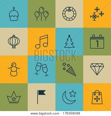 Set Of 16 Holiday Icons. Includes Brilliant, Air Ball, Champagne Glasses And Other Symbols. Beautiful Design Elements.