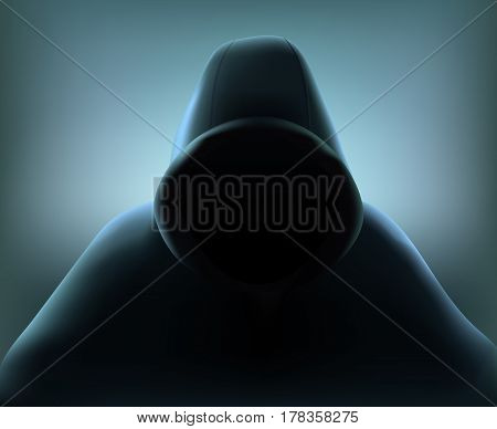 Colored hacker realistic composition with figure of man of woman in black loose overall vector illustration